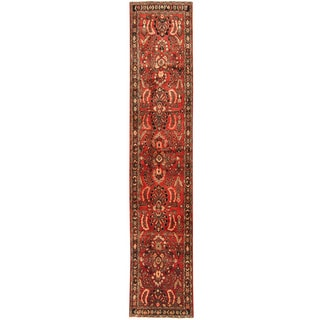 Herat Oriental Persian Hand-knotted Tribal Hamadan Wool Runner (2'8 x 13'9)