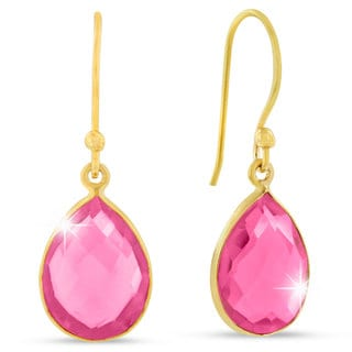 12 Carat Raspberry Quartz Pear Shape Earrings In 18 Karat Gold Overlay