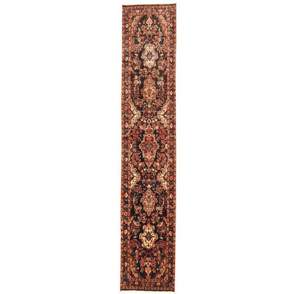 Herat Oriental Persian Hand-knotted Tribal Hamadan Wool Runner (2'7 x 13'5)