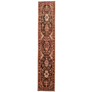 Herat Oriental Persian Hand-knotted Tribal Hamadan Wool Runner (2'7 x 13'5)