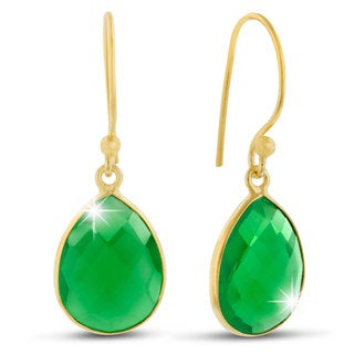 12 Carat Emerald Quartz Pear Shape Earrings In 18 Karat Gold Overlay