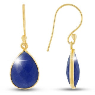 12 TGW Sapphire Pear Shape Earrings In Gold Over Brass