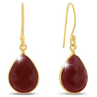 12 TGW Ruby Pear Shape Earrings In Gold Over Brass