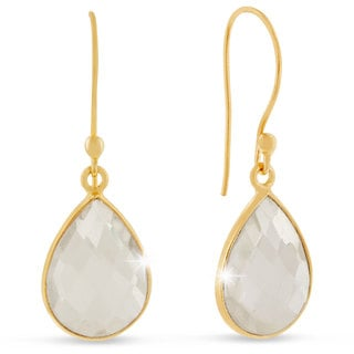 12 Carat Clear Quartz Pear Shape Earrings In 18 Karat Gold Overlay