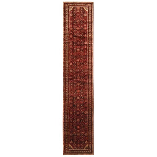 Herat Oriental Persian Hand-knotted Tribal Hamadan Wool Runner (2'7 x 13'2)
