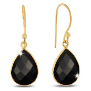 12 TGW Black Onyx Pear Shape Earrings In Gold Over Brass