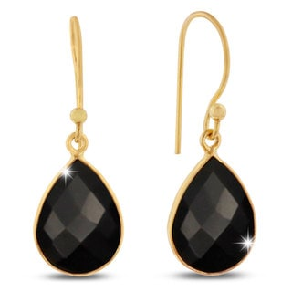 12 Carat Black Onyx Pear Shape Earrings In 18 Karat Gold Overlay