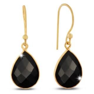 12 TGW Black Onyx Pear Shape Earrings In Gold Over Brass