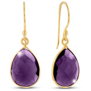 12 Carat Amethyst Pear Shape Earrings In 18 Karat Gold Overlay