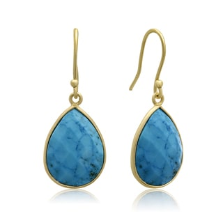 12 Carat Turquoise Pear Shape Earrings In 18 Karat Gold Overlay