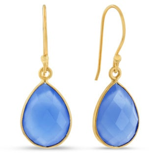 12 TGW Blue Chalcedony Pear Shape Earrings In Gold Over Brass