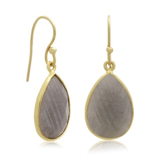 12 Carat Labradorite Pear Shape Earrings In 18 Karat Gold Overlay