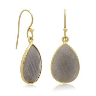 12 TGW Labradorite Pear Shape Earrings In Gold Over Brass