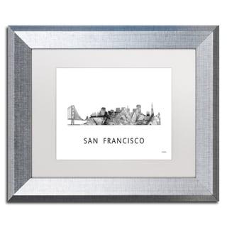 Marlene Watson 'San Francisco CA Skyline WB-BW' Matted Framed Art