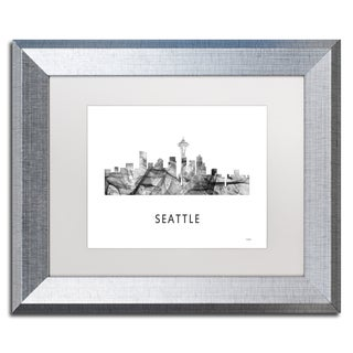Marlene Watson 'Seattle Washington Skyline WB-BW' Matted Framed Art
