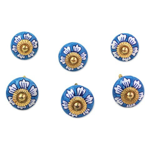 Handmade Ceramic Blue Flowers Cabinet Knobs Set of 6 (India)