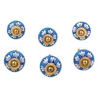 Set of 6 Handmade Ceramic 'Blue Flowers' Cabinet Knobs (India)