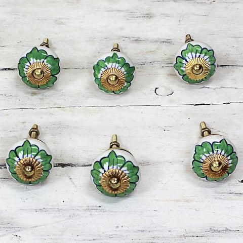 Set of 6 Handmade Ceramic 'Green Flowers' Cabinet Knobs (India)