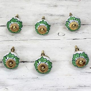 Set of 6 Handcrafted Ceramic 'Green Flowers' Cabinet Knobs (India)