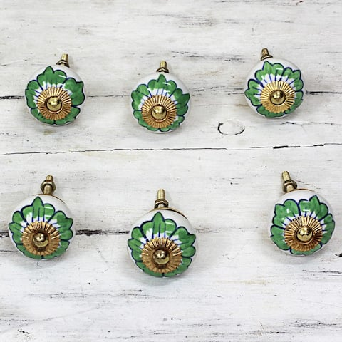 Handmade Ceramic 'Green Flowers' Cabinet Knobs Set of 6 (India)