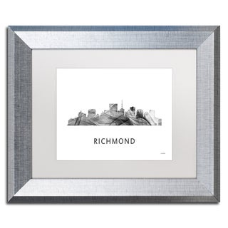 Marlene Watson 'Richmond Virginia Skyline WB-BW' Matted Framed Art