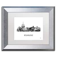 Marlene Watson 'Roanoke Virginia Skyline WB-BW' Matted Framed Art