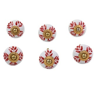 Set of 6 Handcrafted Ceramic 'Leafy Red' Cabinet Knobs (India)