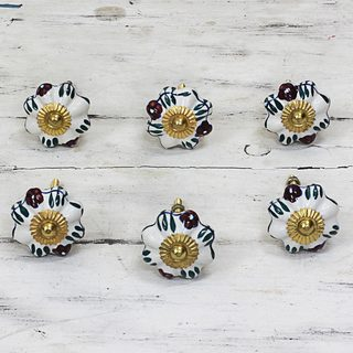 Set of 6 Handcrafted Ceramic 'Floral Sunshine' Cabinet Knobs (India)
