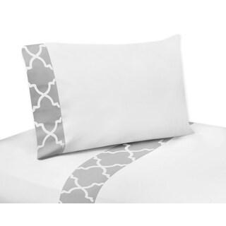 Sweet Jojo Designs Gray and White Trellis Collection King-size Sheet Set
