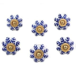 Set of 6 Handcrafted Ceramic 'Blue Sunshine' Cabinet Knobs (India)