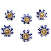 Set of 6 Handmade Ceramic 'Blue Sunshine' Cabinet Knobs (India)