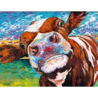 Marmont Hill - 'Curious Cow I' Painting Print on Wrapped Canvas|https://ak1.ostkcdn.com/images/products/12951853/P19702111.jpg?impolicy=medium