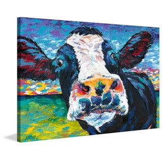 Marmont Hill - 'Curious Cow II' Painting Print on Wrapped Canvas