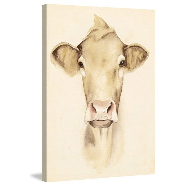 Marmont Hill - 'Bovine Stare I' Painting Print on Wrapped Canvas - Multi-color
