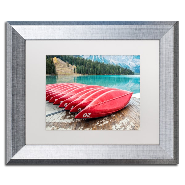 Pierre Leclerc 'Red Canoes of Emerald Lake' Matted Framed Art