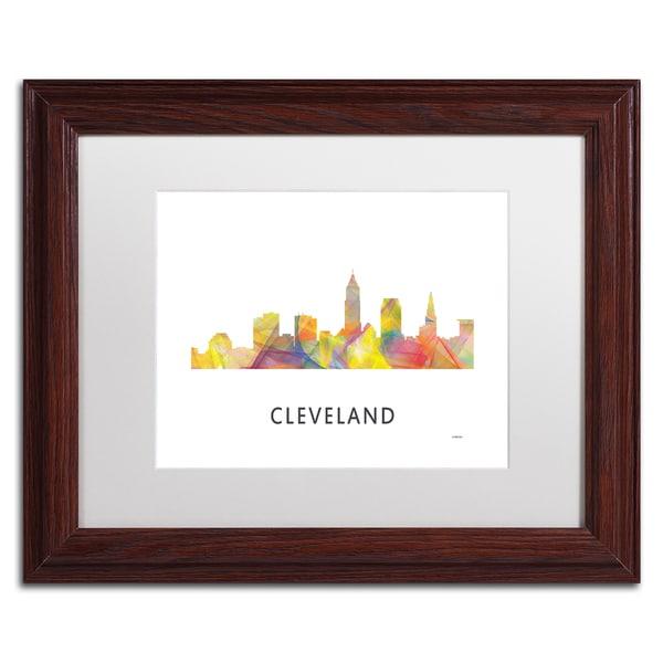 Marlene Watson 'Cleveland Ohio Skyline WB-1' Matted Framed Art