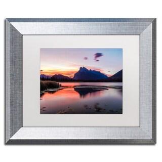 Pierre Leclerc 'Vermilion Lakes Sunrise' Matted Framed Art