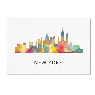 Marlene Watson 'New York New York Skyline WB-1' Canvas Art