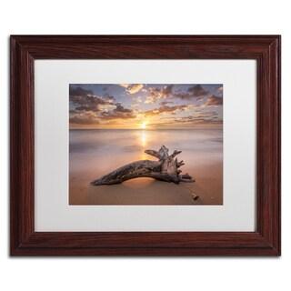 Pierre Leclerc 'Beach Tree Sunrise' Matted Framed Art
