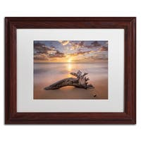 Pierre Leclerc 'Beach Tree Sunrise' Matted Framed Art