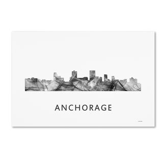 Marlene Watson 'Anchorage Alaska Skyline WB-BW' Canvas Art