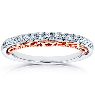 Annello by Kobelli 14k Two Tone White and Rose Gold Lacy Profile 1/6ct TDW Diamond Ring (