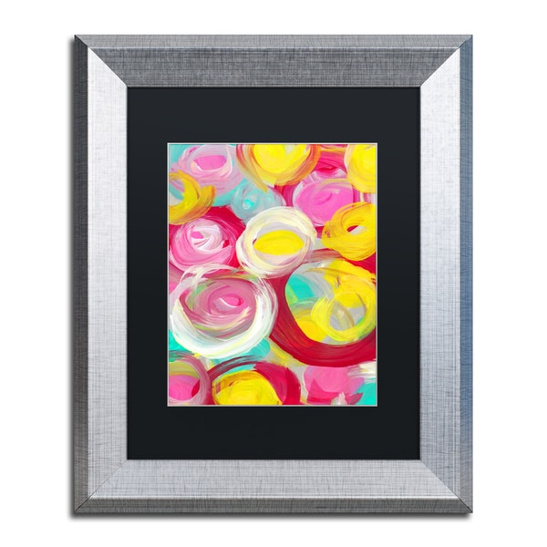 Amy Vangsgard 'Rose Garden Circles Vertical 3' Matted Framed Art