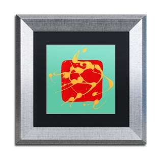 Amy Vangsgard 'Red Square Teal ' Matted Framed Art