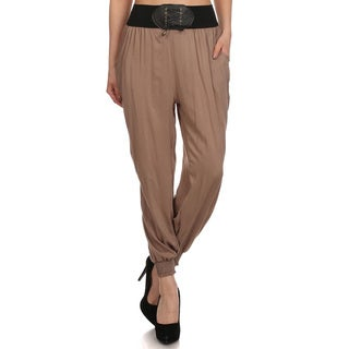 Women's 'Mocha' Khaki Polyester Full-length Pants