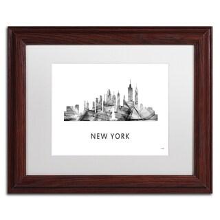 Marlene Watson 'New York New York Skyline WB-BW' Matted Framed Art