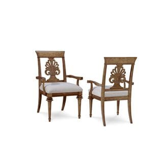 A.R.T. Furniture Pavilion Radiatta Wood and Crypton Fabric Upholstered Arm Chairs (Set of 2)