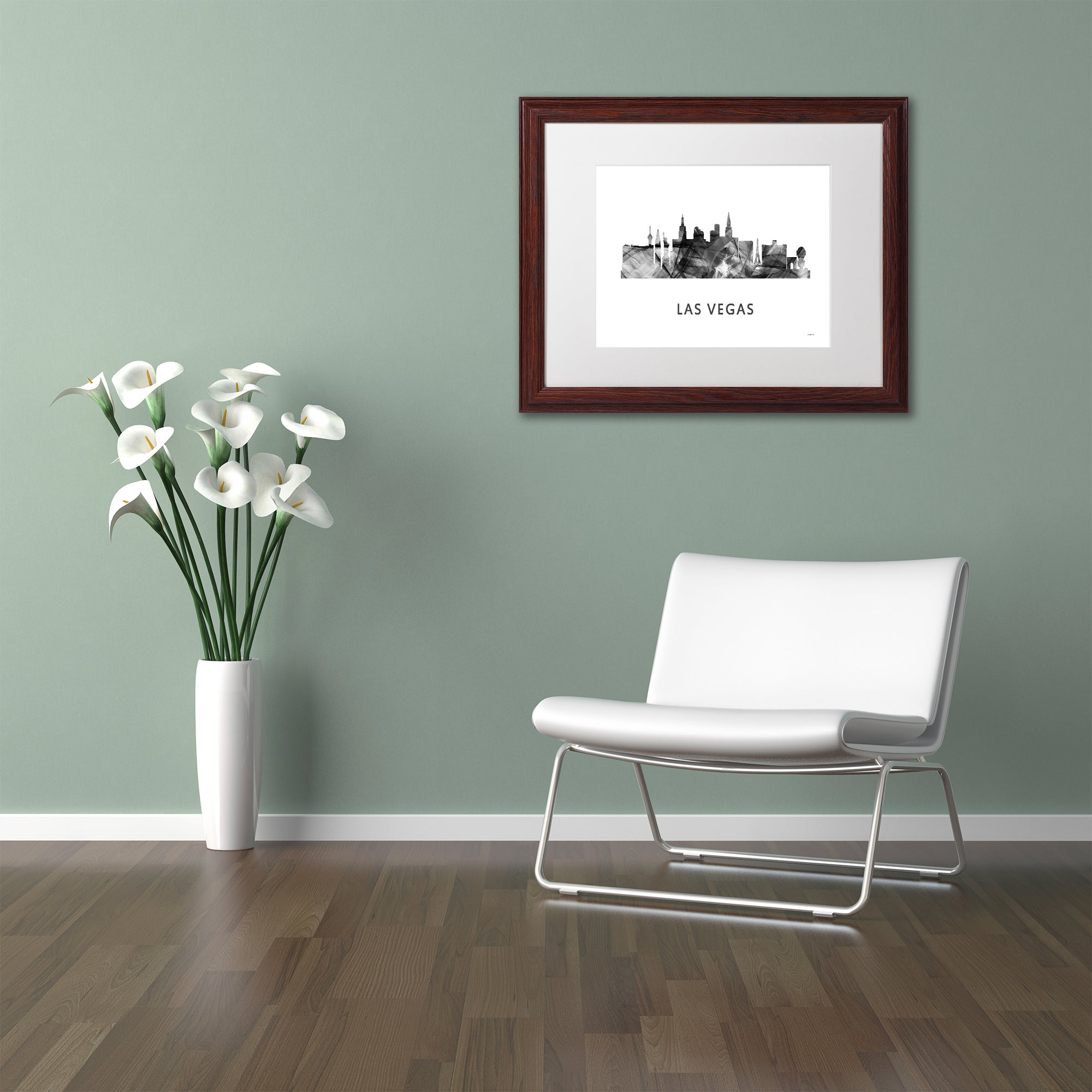 Marlene Watson Las Vegas Nevada Skyline 2 Wb Bw Matted Framed Art Overstock 12957396