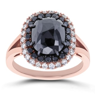 Annello by Kobelli 14k Rose Gold 3 5/8ct TDW Black and White Diamond Double Halo Ring (G-