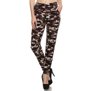 Women's Brown Polyester/Spandex Camo Leggings